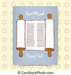 Sketch Bar Mitzvah poster in vintage style, vector