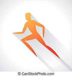 Athletics emblem of abstract stylized running man. Sport concept for advertising, branding, illustration