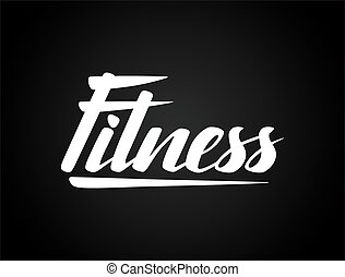 Fitness lettering poster concept. Handwritten word for...