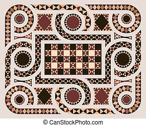 Floor mosaic in vector - Floor mosaic background with...