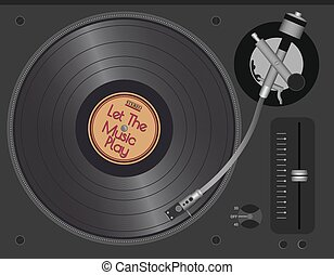 Dj Turntable With LP. Vector Illustration eps10