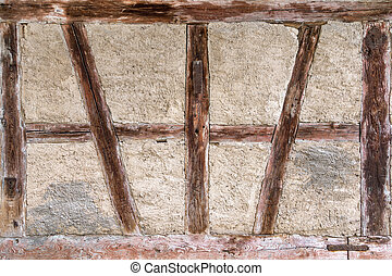 Old half-timbered - Detail of an old, weathered, brown...