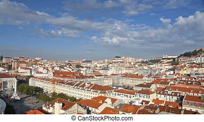 Lisbon cityscape view with clouds at sunny day, timelapse