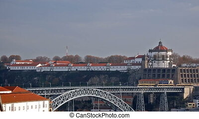 Luis I bridge and house roofs in Porto, Portugal