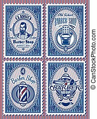 set template of stamps with elements barbershop
