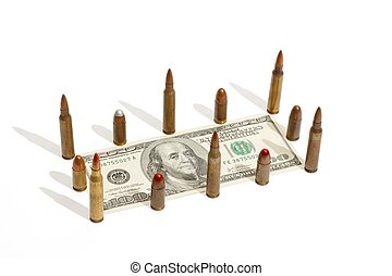One hundred dollar bill fenced by cartridges isolated