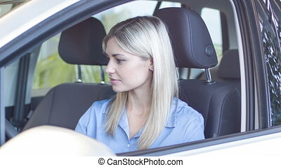 Young attractive woman in the car - Happy with purchase...