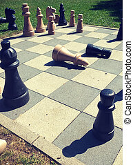 playing chess game in the park - leisurely playing chess...