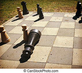 playing chess game outdoors in the park - chess game board...