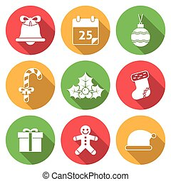 Christmas Icons with Long Shadows Editable EPS vector format...