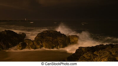 Fast wave motion on Porto beach at night, Portugal