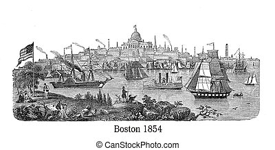 Beautiful engraving of Boston harbor, used as heading by...