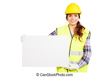 Young woman in construction helmet with nameplate - Girl...