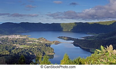 Lagoa Verde and Lagoa Azul on San Miguel island of Azores,...