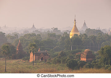 Sunrise over ancient pagoda in Old Bagan, Myanmar ( Burma )