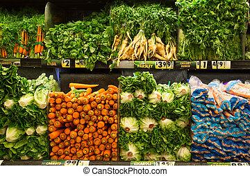 Vegetables - Variety of fresh vegetable in display at...