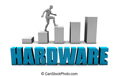 Hardware 3D Concept  in Blue with Bar Chart Graph