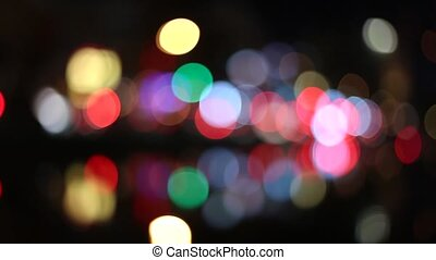 Colorful Circles Video Background - Defocused night lights...