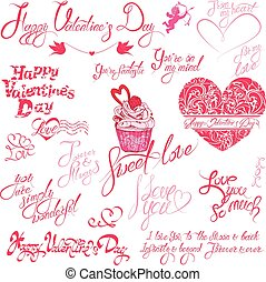 Set of hand written text: Happy Valentine`s Day, I love you,...