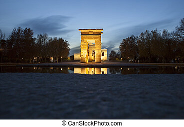 Temple of Debod at dusk. Ancient Egyptian temple which was...