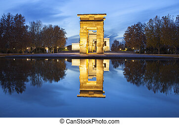 Temple of Debod at dusk Ancient Egyptian temple which was...