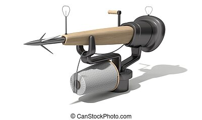 3d harpoon cannon design. wooden version. isolated on white.