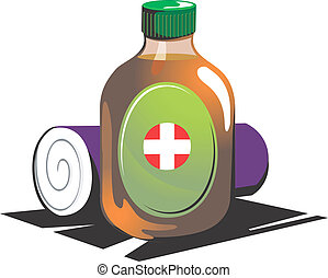 First aid - Illustration of cleaning liquid and cotton...