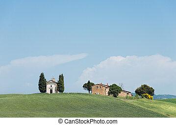 Cappella, della, Madonna, Di, Vitaleta, iglesia, en,...