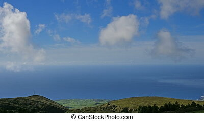 Green valley and ocean on San Miguel island of Azores