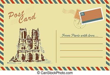 Vintage postcard with Notre Dame,watercolor hand...
