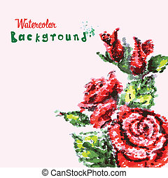 drawing by hand beautiful watercolor background bouquet of roses