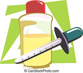 Filler - Illustration of filler and medicine bottle