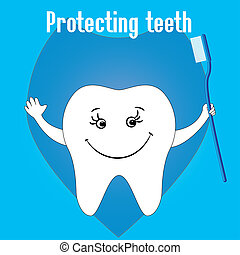 Happy Tooth and tooth brushes, tooth protection, vector