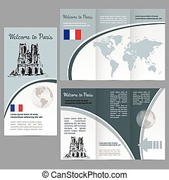 Travelers guide or banner with a map, watercolors...