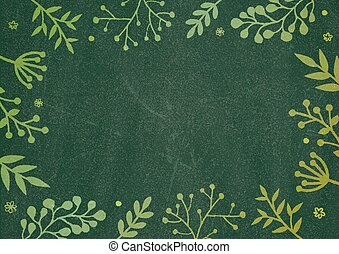 Green board background with drawing flora border