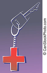 medical red cross in a key