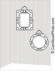 Hand drawn decorative vector frames on stripes wall...