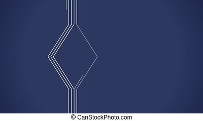 Geometrical lines flat animation with solid on dark blue...