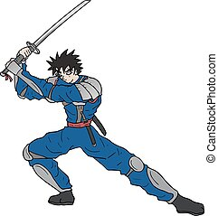 cartoon warrior with katana - Creative design of cartoon...