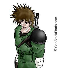 samurai, guerreira, mão, Ilustração,