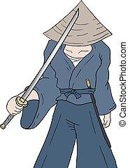 samurai with katana - Creative design of samurai with katana