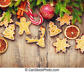 krückstock, hölzern, aus, pl�tzchen, zuckerl, hintergrund, Lebkuchen, Feiertag, umrandungen, Weihnachten