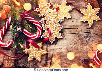piante sempreverdi, Canna, legno, sopra, biscotti, caramella, vario, fondo, pan zenzero, tavola, vacanza, bordo, Natale