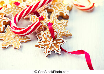 Christmas background with homemade gingerbread cookies