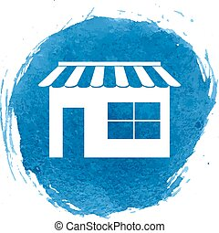 Shop icon with watercolor effect