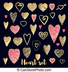 Set of gold and pink ornate heart