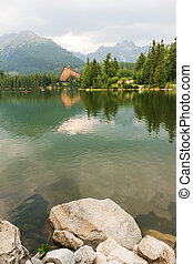 Famous Strbske Pleso - Mountain lake Strbske Pleso in High...