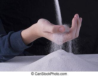 Sand falling through a hand