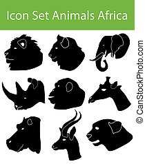 Icon Set Animals Africa with 9 icons for the creative use in...
