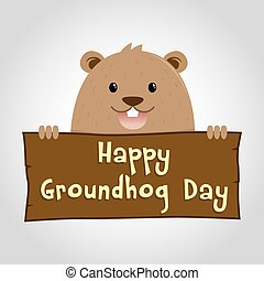 Groundhog Holding a Wooden Sign - Groundhog holding wooden...